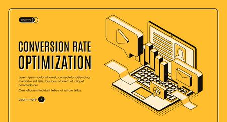 Conversion rate optimization isometric vector web banner with digital content on laptop screen illustration. Internet marketing technology, e-commerce sales optimization service landing page template Vektoros illusztráció