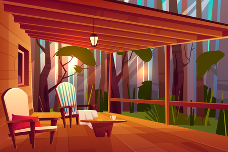 Country or village house in forest with wooden coffee table and comfortable, soft armchairs on roofed veranda or pouch cartoon vector illustration. Peaceful place for evening rest, relaxing outdoors Illustration