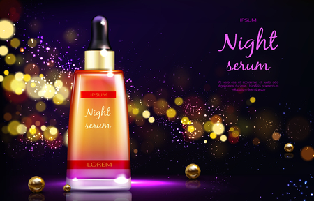 Skin repairing night serum 3d realistic vector advertising banner or poster. Cosmetics product branded glass bottle with dropper and golden pearls on black background with sparkles bokeh illustration