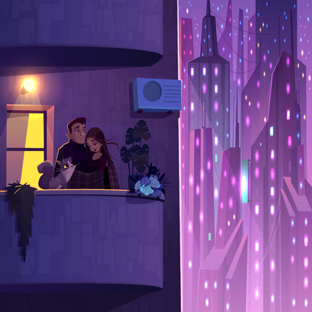 Comfortable living in modern multi-storey house cartoon vector with young couple with cat, covering shoulders by plaid, hugging each other and resting on balcony, futuristic skyscrapers on background Stok Fotoğraf - 123227861