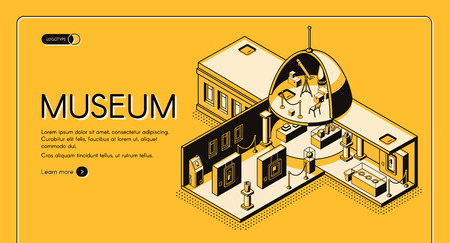 Historical, art or science museum cross section isometric vector web banner. Classic architecture building with domed roof yellow, black line art illustration. Public exhibition landing page template