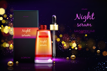 Womens cosmetics product 3d realistic vector ad banner. Skin moisturizing, facial night serum packaging box, bottle with dropper, golden pearls on black background with blurred glitter illustration
