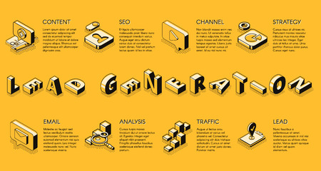 Lead generation internet business marketing strategy isometric projection vector banner, poster, presentation infographics slide with business icons set illustration. E-commerce digital technologies