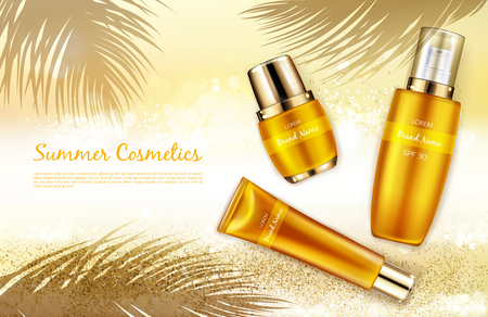 Vector realistic cosmetic background, promo banner for summer spf cosmetics. Sunscreen products in elegant golden, package on hot sand with shadow of tropical palm leaves, mock up for glossy magazine