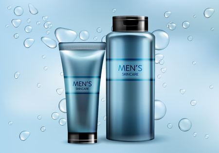 Mens cosmetics products line 3d realistic vector advertising mockup. Skincare cream, shampoo, shaving foam or lotion plastic tube, glass bottle illustrations on gradient background with water bubbles