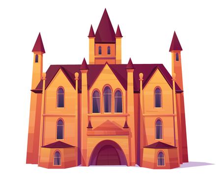 Mittelalterliches Schloss, Luxusvilla, Herrenhaus im viktorianischen Architekturartkarikaturvektor. Altes Haus mit Türmen und Tor, Elite-Immobilienobjekt isoliert auf weißem Hintergrund