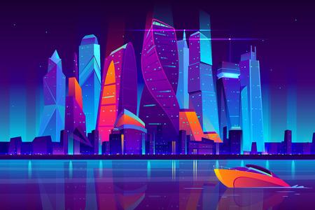Paisaje nocturno moderno del vector de la historieta de la ciudad de moscú. Fondo de paisaje urbano con edificios de rascacielos en la orilla del mar iluminado con ilustración de luz de neón. Distrito comercial central de Metrópolis