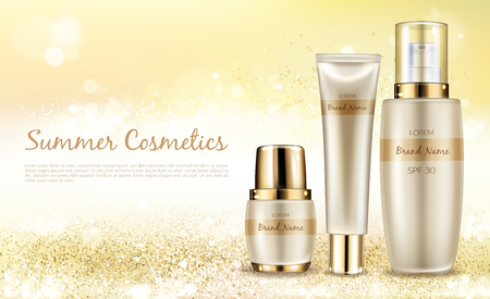 Vector realistic cosmetic background, promo banner for summer spf cosmetics. Series sunscreen products in elegant package on shining background with golden sparkles, mock up for glossy magazine Illustration