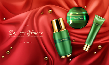 Skincare cosmetics products line 3d realistic vector ad banner, promo poster with face cream or lotion, perfume green, branded bottle, jar and tube on red silk fabric with gold pearls illustration