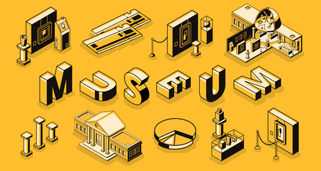 Museum or art gallery isometric vector concept with museum cross section building, paintings and sculpture exposition elements, paper tickets, line art illustration. Touristic attraction and culture