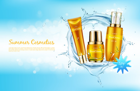 Vector realistic cosmetic background promo banner for summer spf cosmetics. Sunscreen products in elegant golden package on blue shining background with liquid water splash mock up for glossy magazine