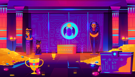 Egypt pharaoh tomb, treasury full of gold coins, precious gems and ancient artifacts cartoon vector in neon colors. Pharaoh sarcophagus, cat and queen statuettes, dung- beetle bas-relief illustration Ilustração
