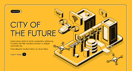 Smart technologies for future city citizen isometric vector web banner, landing page template. Flying taxi, postal drone, subway moving between skyscrapers on cellphone screen line art illustration