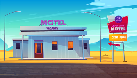 Small, 24 hours, roadside motel building with illuminated road sign near highway in dessert area cartoon vector illustration. Comfortable accommodation for car travelers. Touristic infrastructure