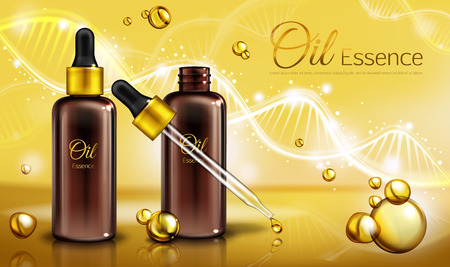 Oil essence in brown glass bottles with pipette and yellow liquid in droplets, spots. Oily cosmetics, natural vitamins cosmetic product, poster, promo ad. Realistic 3d vector illustration, banner.