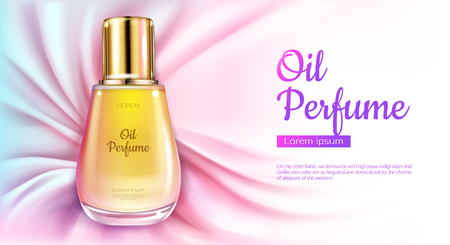 Oil perfume glass bottle with yellow liquid on pink silk draped fabric background. Packaging design mock up. Women fragrance cosmetic product, promo poster ad. Realistic 3d vector illustration, banner Vektoros illusztráció