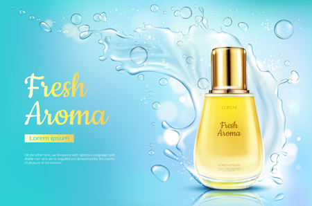 Perfume fresh aroma in glass bottle with water splash on blue blurred background. Packaging design mock up. Women fragrance cosmetic product, poster, promo ad. Realistic 3d vector illustration, banner Banque d'images - 122832225
