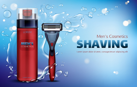 Men cosmetics, shaving foam, safety razor blade 3d realistic vector ads poster. Body care cosmetic product, red bottle and shaver on blue background with water splash and flying drops, promo mock up Illusztráció
