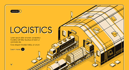 Warehouse logistics, railway wood delivery and transportation process, global shipping distribution, goods export, import over the world service. Isometric vector illustration, banner, landing page Zdjęcie Seryjne - 122832229