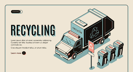 Garbage recycling banner with litter collector or refuse truck standing near rubbish bins, waste sorting, recycling and transportation web site, landing page template. Isometric vector illustration