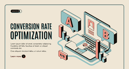 Conversion rate optimization isometric web banner. Digital content, column charts on laptop keyboard and screen. Internet marketing technology, e-commerce. Vector illustration, landing page template