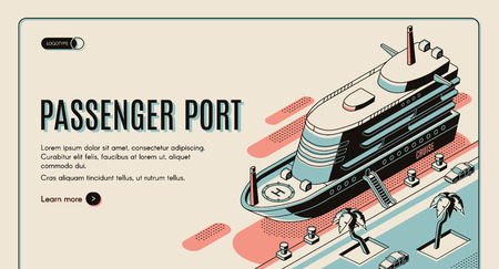 Passenger port isometric vector web banner template. Cruise ship with lowered ladder, moored to pier in tropical country line art illustration. Vacation pleasure voyage, nautical journey landing page