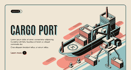 Cargo port isometric vector web banner template. Handling gantry crane on quay loading, unloading shipping containers on cargo ship deck line art illustration. Maritime transport company landing page  イラスト・ベクター素材