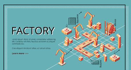 Pagina di destinazione del nastro trasportatore di fabbrica. Produzione confezionamento bracci robotici su linea nastro trasportatore. Automazione, rivoluzione industriale intelligente, assistenti robot. Illustrazione vettoriale isometrica, line art, banner. Vettoriali