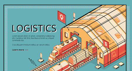 Industrial production logistics isometric vector web banner. Locomotive pulling cargo wagons with timber, pipes, bulk materials from depot or railway station. Railroad transport company landing page Illustration