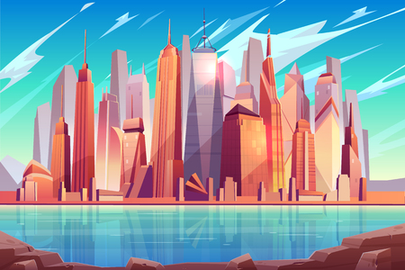 Future metropolis downtown, modern city business center cartoon vector background with futuristic architecture skyscrapers buildings on river or sea shore illustration. Prestige real estate property
