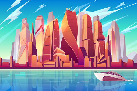 Moscow city skyline cartoon vector panoramic background with international business center complex futuristic skyscrapers buildings on shore and modern motor yacht sailing in Moskva river illustration