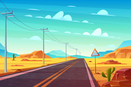 Empty highway road in desert, going far to horizon cartoon vector. Two line path, power line pillars and road sign in hot, deserted rocky area illustration. Car tourism, traveling America background