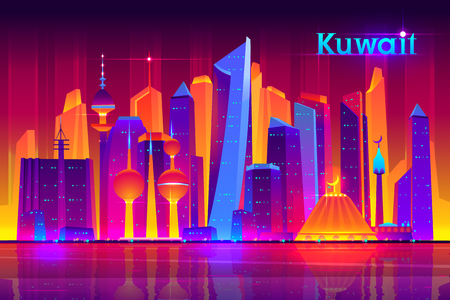 Kuwait metropolis nightlife cartoon vector banner template with modern asian, muslim culture city, futuristic architecture skyscrapers illuminated neon lights, reflecting in bay water illustration
