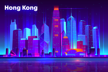 Hong Kong city nightlife cartoon vector banner, poster template. Modern asia metropolis downtown futuristic skyscrapers illuminated neon lights, reflecting in bay illustration. Cyberpunk background