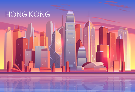Hong Kong city evening, morning skyline cartoon vector with sunset light reflecting in skyscrapers buildings glass windows on bay shore illustration. Metropolis downtown, urban architecture background