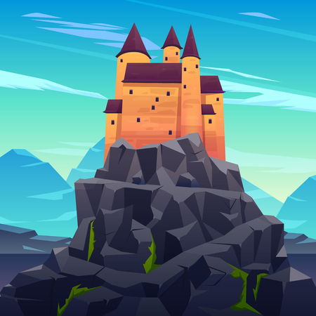 Medieval castle, ancient citadel or impregnable fortress with stone towers on rocky peak cartoon vector. Fairytale king palace, royal stronghold, dracula shelter high in mountains illustration Çizim