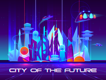 City of future at night with vibrant neon lights and shining spheres. Urban landscape with flying spaceships, Futuristic metropolis with glowing buildings and skyscrapers. Cartoon vector illustration.