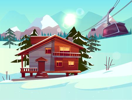 Station de ski avec maison ou chalet, remontée de la cabine du funiculaire sur téléphérique, paysage de montagne hivernal avec épicéas et sommets et pentes enneigés. Vacances d'hiver. Illustration vectorielle de dessin animé.