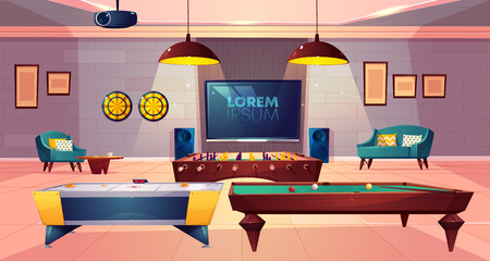 Recreation room for leisure in house basement with soft armchair and sofa, darts and TV on wall, projector on ceiling, ho key, billiard and football, soccer tabletop games. Cartoon vector illustration Illustration