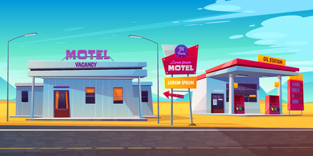 Roadside motel with parking, oil station and index signboard standing at wayside in day time. Noctidial comfortable hotel accommodation for traveling people. Car tourism. Cartoon vector illustration.