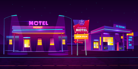 Roadside motel with car parking and oil station glowing at night with bright neon illumination background. Round the clock comfortable accommodation for traveling people. Cartoon vector illustration. Çizim