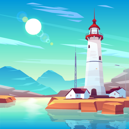Lighthouse standing on rocky seashore surrounded with houses and tv tower under sun shining in cloudy sky. Marine landscape with white beackon on seaside. Tranquil nautical cartoon vector illustration