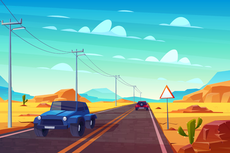 Desert landscape with long highway and cars ride along asphalt road with sign and wires. Roadway with skyline, rocky barren wasteland and cactus. Travel concept background. Cartoon vector illustration Иллюстрация