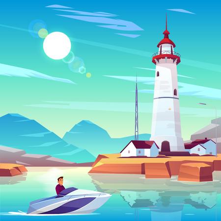 Faro en el puerto y lancha con el hombre pasando por viviendas y soporte de torre en la costa rocosa en un día soleado. Personaje masculino en lancha motora en la bahía del mar cerca del edificio de baliza Ilustración de vector de dibujos animados