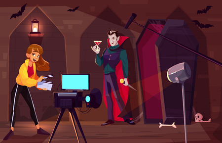 Filming movie or clip about count Dracula cartoon vector concept. Actor in vampire costume standing in front of camera with with glass of blood in hand, near opened coffin in dark dungeon illustration