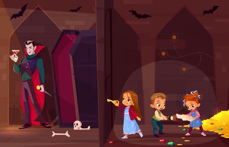 Salle d'évasion de quête pour le concept de vecteur de dessin animé de divertissement pour enfants. Petits enfants avec carte et flash, recherchant la sortie du trésor dans un donjon sombre, ouvrant la porte à la chambre avec un vampire maléfique à l'intérieur Vecteurs