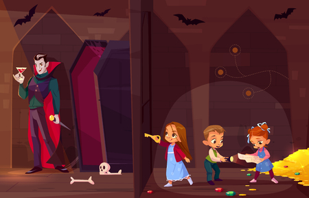 Quest escape room for kids entertainment cartoon vector concept. Little children with map and flash light, searching exit from treasury in dark dungeon, opening door to room with evil vampire inside Illustration