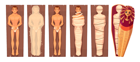 Egyptian mummy mummification process in stages cartoon vector concept with man corps on wooden plate, keeping dead body in chemicals, wrapping in bandages, putting in pharaoh sarcophagus illustration