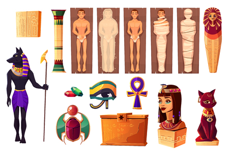 Egyptian ancient attributes of culture and religion set isolated on white background. Egypt deities and obsequies ritual items. Scarabaeus, Pharaoh tomb with mummies, gems. Cartoon vector illustration