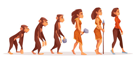 Human evolution from monkey to woman isolated on white background. Female character evolve steps from ape to uprights homo sapiens and modern business lady. Darwin theory. Cartoon vector illustration.